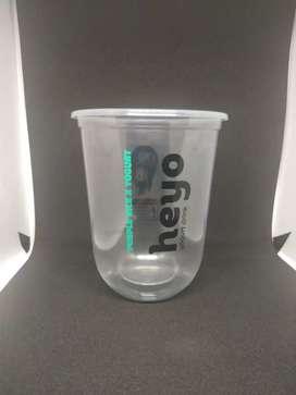 Gelas plastik dan cetak logo PP oval 16oz