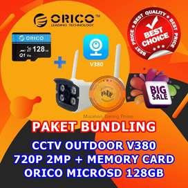 CCTV OUTDOOR V380 720P 2MP + MEMORY CARD ORICO MICROSD 128GB HEMAT