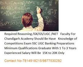 Required Reasoning /GK/GS/UGC /NET   Faculty For Chandigarh Academy Sh