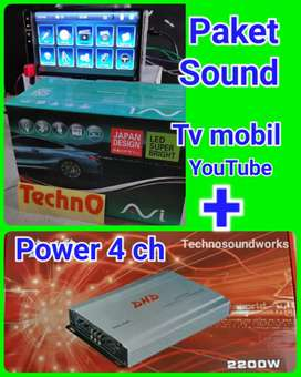 Paket sound audio power 4 ch + tv 7 in YouTube mp4 usb headunit tape