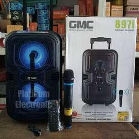 Speaker Aktif Double Bass GMC 897i Portable + Mic Wireless Karaoke