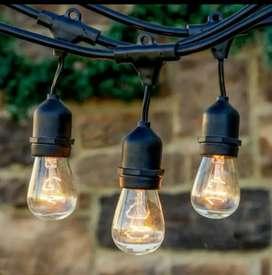 Kabel lampu 10m 10 Fitting Gantung Lampu Cafe Taman Outdoor Anti Air