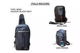 tas selempang pria import polo recor USB tas wesbag