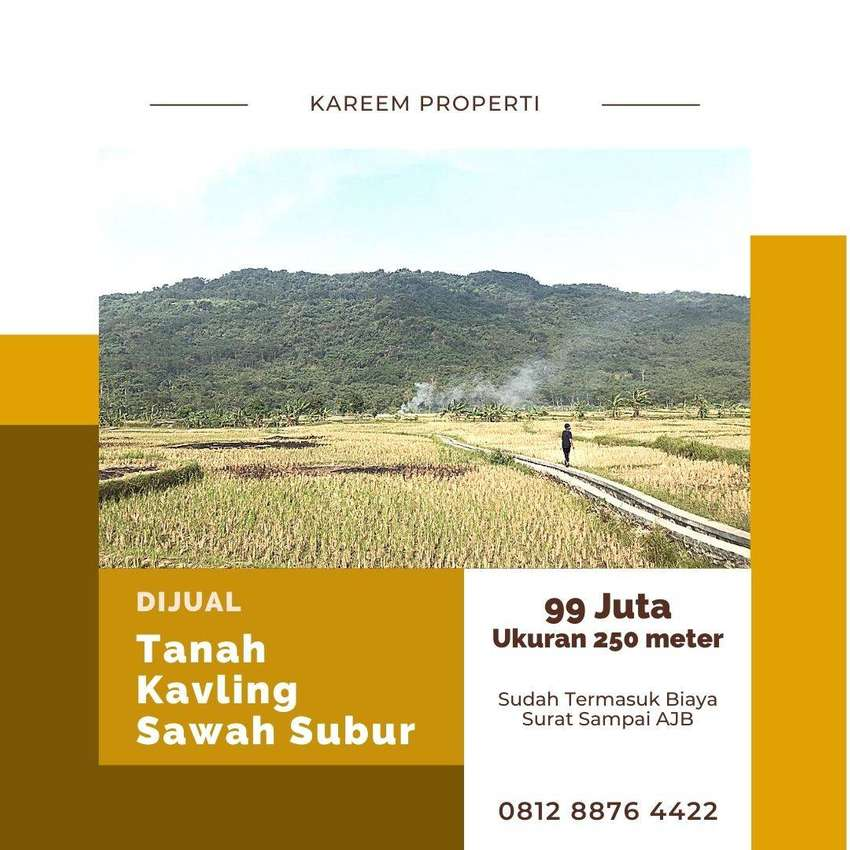 Dijual Tanah Kavling Sawah Produktif Kerjasama kelompok Tani Setempat