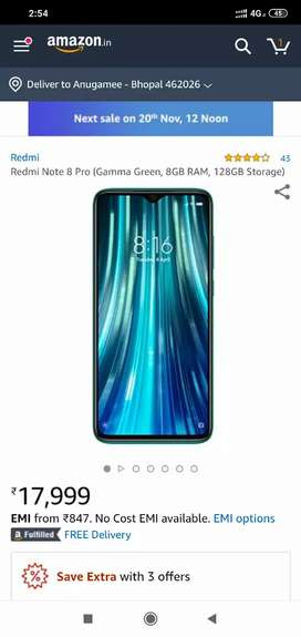 Redmi Note 8 Pro 8 /128 redmi note 8 6/128 available all colour 13300