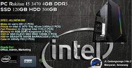PC Rakitan I5 3470 4GB DDR3 SSD 120GB HDD 500GB Office Admin