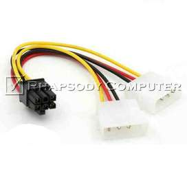 Kabel Power VGA 6 Pin (Female) to Molex 4 Pin (Male) Cabang