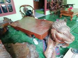 Kursi dan meja kayu jati belanda asli