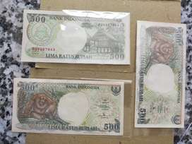 Jual Uang kertas kuno Rp. 500 Tahun 1992 gambar orta baru / gres