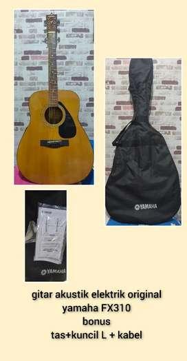 gitar akustik elektrik original yamaha FX310 lengkap tas dan kitab