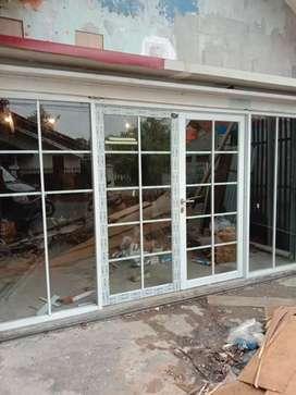 pasang jendela aluminium kisi-kisi dan Kaca Mati