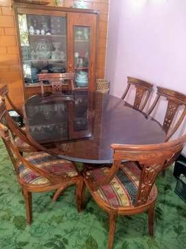 Wooden glass dinning table