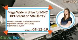 Mega Walk-In drive for MNC BPO client on 5th Dec'19 Voice Process