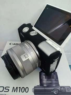 Canon M100 lengkap box Free silicon