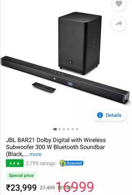 JBL bar 21Dolby digital wireless subwoofer 300w Bluetooth sound bar