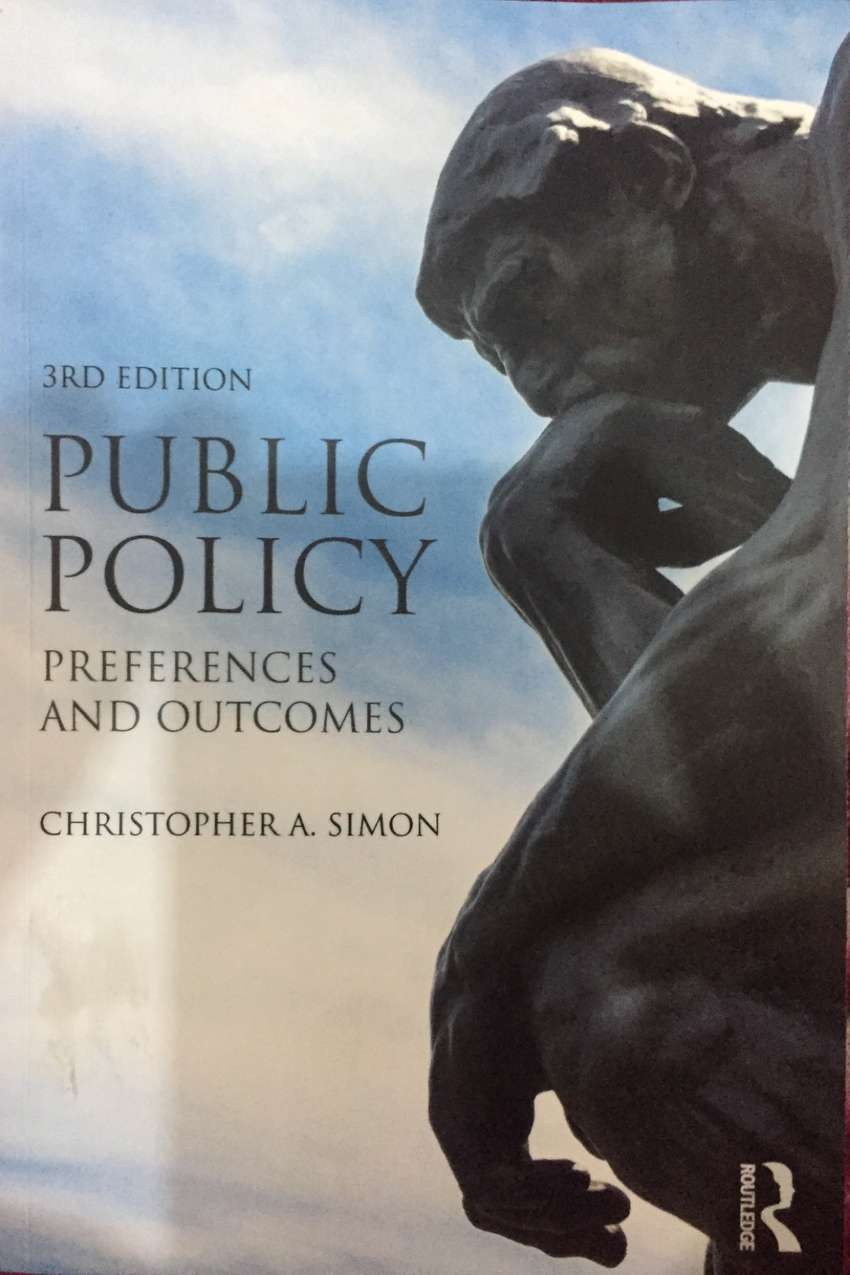 Public Policy book Written by Christoper A. Simon, 3rd edition. 0