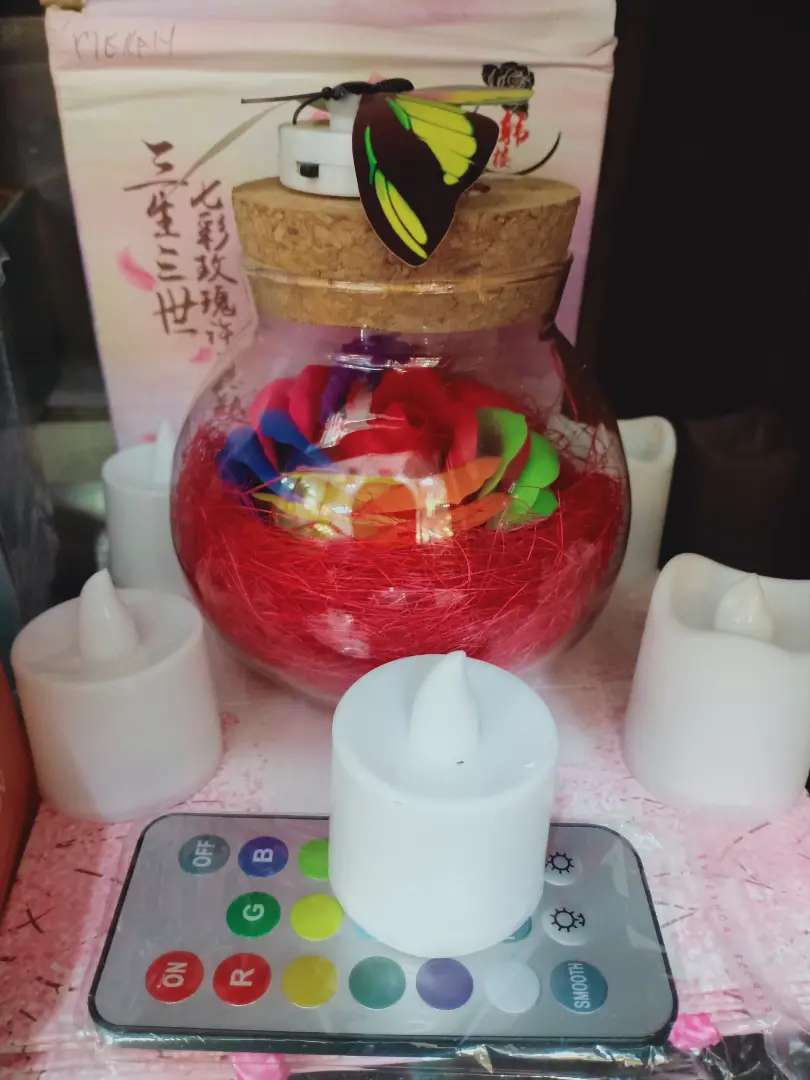 lampu hias bunga dengan set lilin dan kupu 0