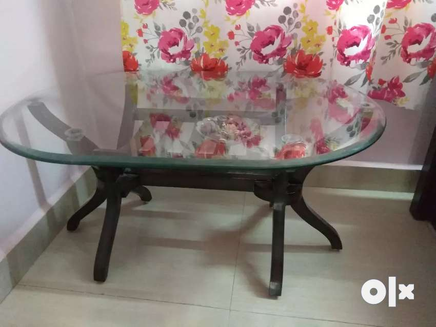 Wooden glass top center table 0