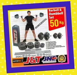 alat fitness gym dumbel barbel set 50 kg murah