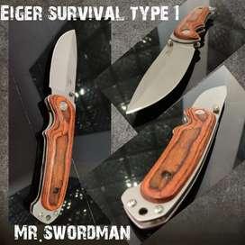 pisau lipat berburu EIGER ADVENTURE wood model 1
