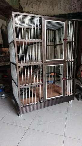 Kandang kucing aluminium 2 kamar tingkat