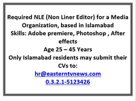 Required NLE (Non Liner Editor) for a Media Organization