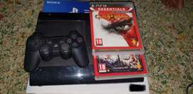 Black Sony PS3 Super Slim Console With Controller And Game