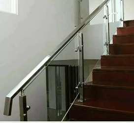 Railing tangga stainless + kaca #1556