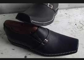 Black pure leather hand stitched shoes