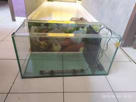 Aquarium ukuran 30x60 + lampu +filter + Mesin