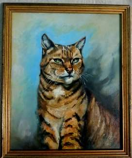 Old 1996 oil cat Painting beautiful dated with sign