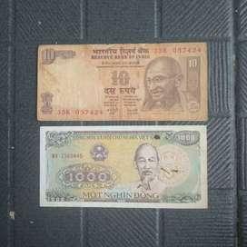 Uang Kuno Kertas Lama Old Money India dan Vietnam