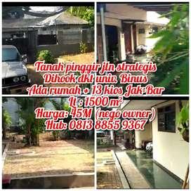 DiJual Tanah hook Strategis pinggir Jl. Raya di Kebun Jeruk Jak - Bar