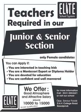 Teacher Required (Female only)