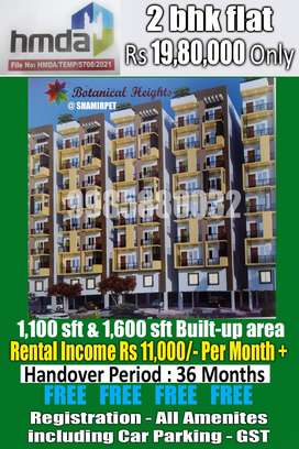 2 bhk flat for under Rs 20 lacs only at Shamirpet, Hyderabad.