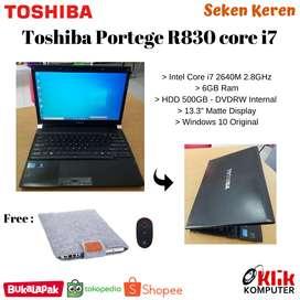Ultrabook Toshiba Portege R830 Core i7 Windows 10 Ori Mulus Grade A