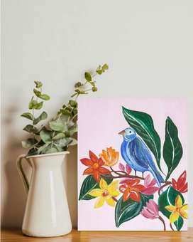 """Canvas acrylic painting -""""bird floral painting"""""""