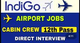 Requirment !!! Male & female  for Ground staff Ex-Man10th /12th apply