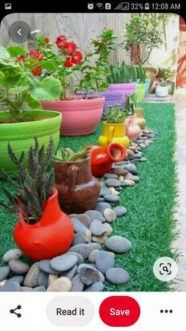 Kumbhar garden and clay pots stones pebbles rock gravel sand