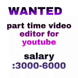 Wanted a video editor for part time