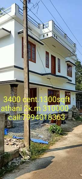 3.4 cent.1350sqft Airport Jn.Athani.New House 3100000.only
