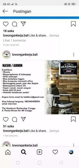Kasir / admin barbershop