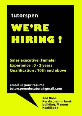 Hiring Marketing executive ( Female )