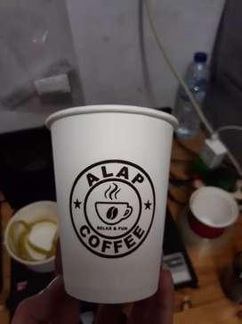 Sablon gelas kertas plus logo PAPER CUP 12oz