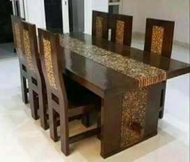 Meja makan minimalis koin material kayu jati AJF1744