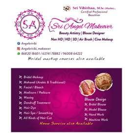 Sri angel mackover .Professional beauty artist , bridalblouse designer
