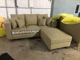 Sofa L sambung sandaran dobel
