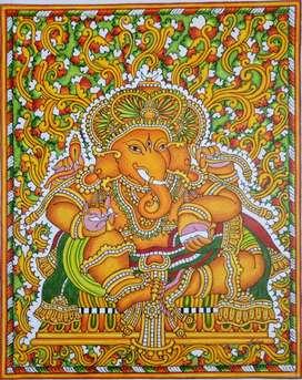 Ganesha, done in Kerala mural style