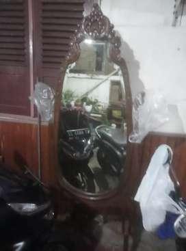 cermin kayu jati antik