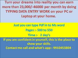 Earn 23000 rupees per month  by data entry job